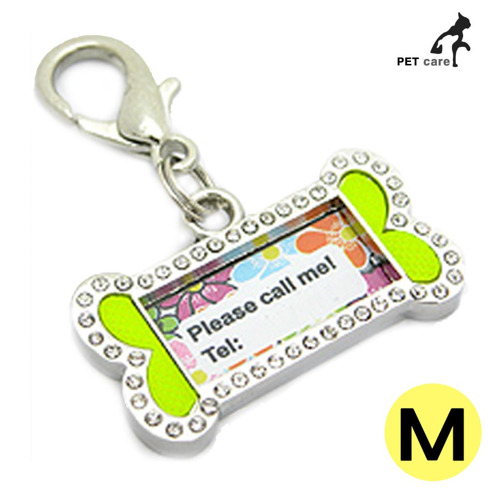 펜던트 인식표 큐빅 강아지 이름표 (뼈다귀문양) (M)