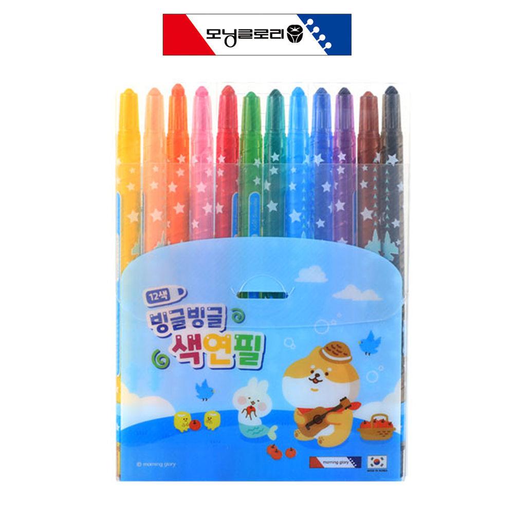 모닝글로리 빙글빙글 색연필 12색 (블루)