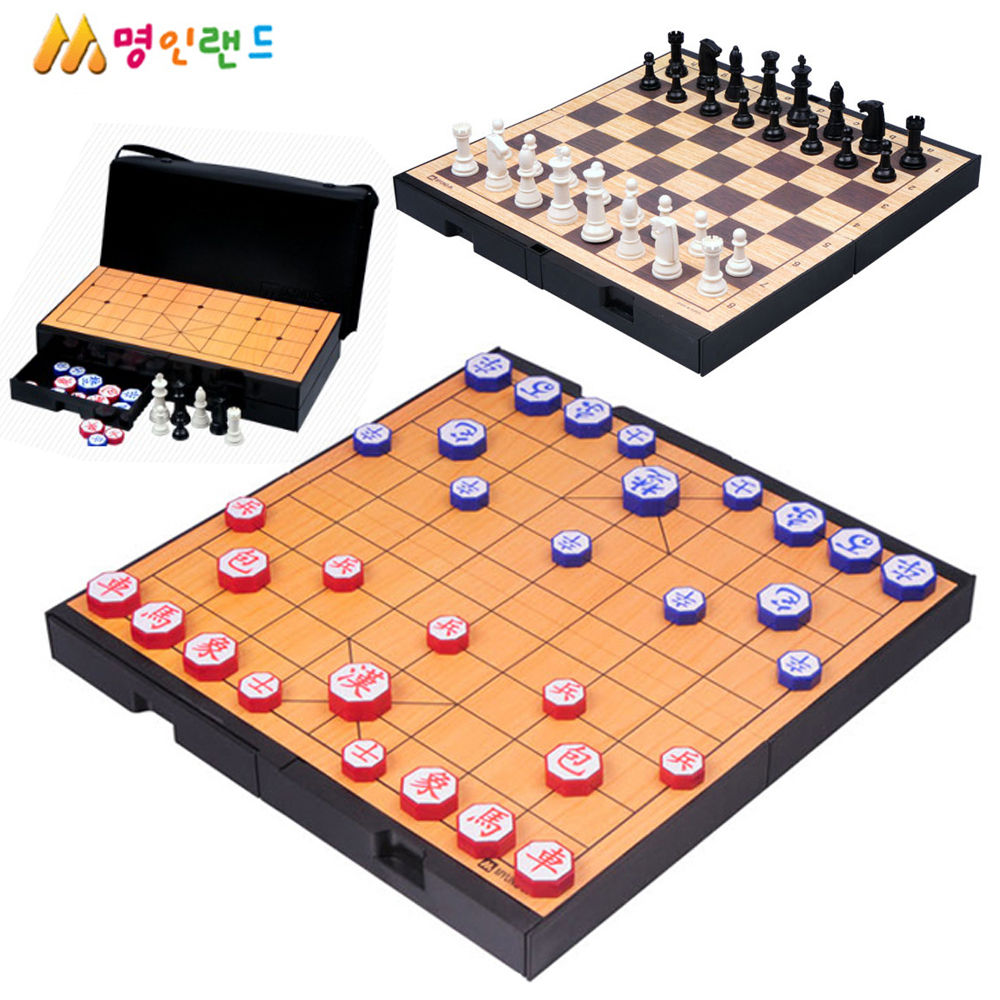 명인랜드 중형 자석식 체스 장기 양면게임 (M-259) (가방포함)